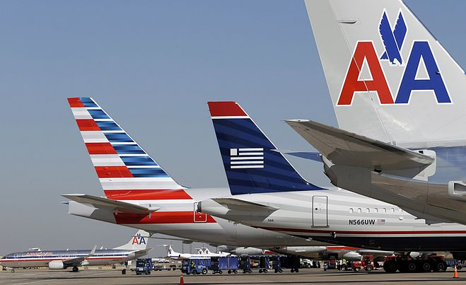American and US Airways Tails