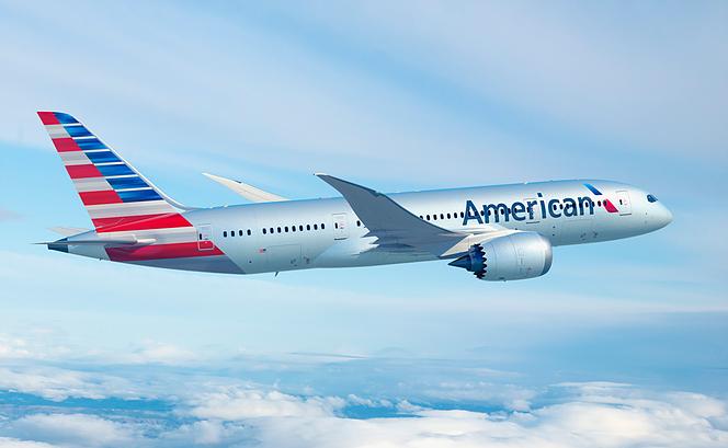 American Boeing 787 Dreamliner in Flight