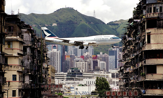 Cathay Pacific Boeing 747 Landing at Hong Kong Old Airport