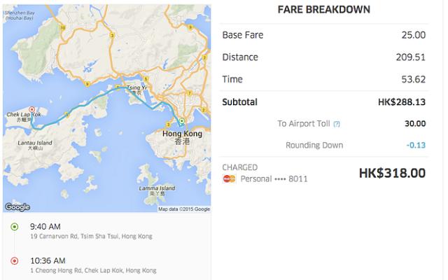 Hong Kong UberBlack Fare