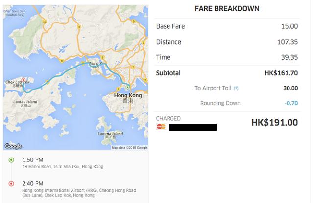Hong Kong UberVan Fare