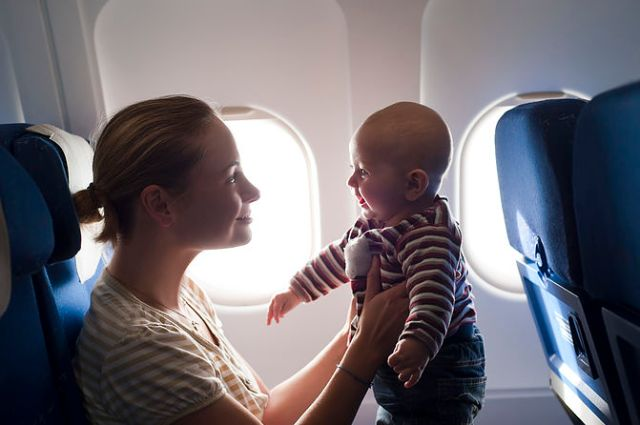 Mom and Baby on a Plane
