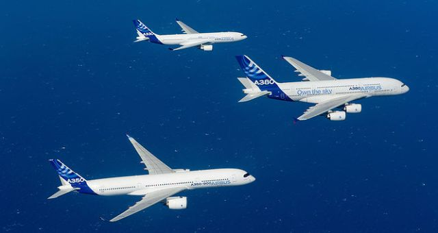Three Airbus Planes Flying