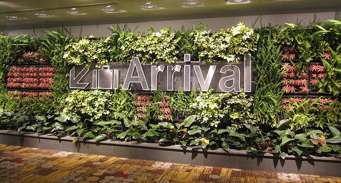 Arrival Sign at Singapore Changi Airport