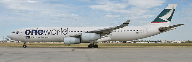 Cathay Pacific Plane with OneWorld Livery