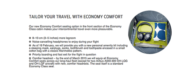Finnair Economy-Comfort Description