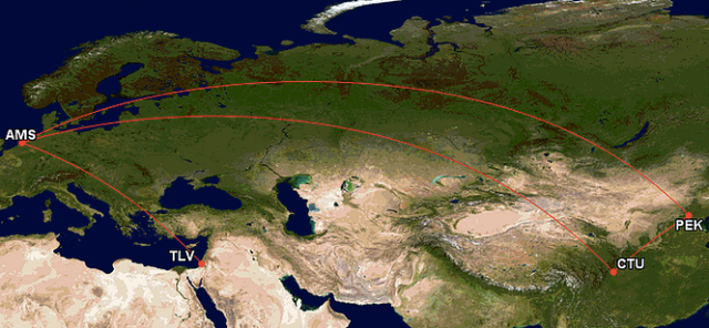 GCM Map TLV-AMS-CTU-PEK-AMS-TLV