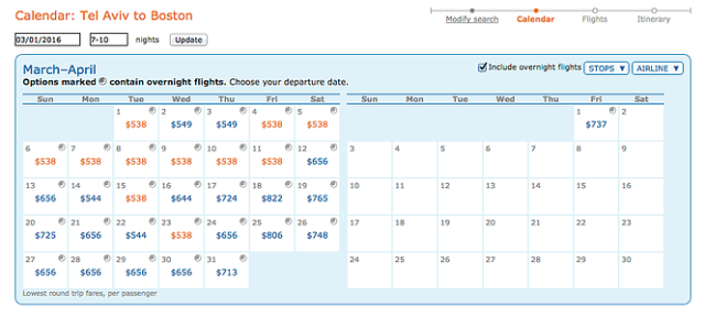 ITA Prices for AF, TLV:BOS, March16