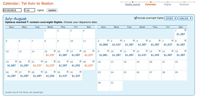 ITA Prices for BA, TLV-BOS, July15