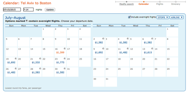 ITA Prices for LY, TLV-BOS, July15