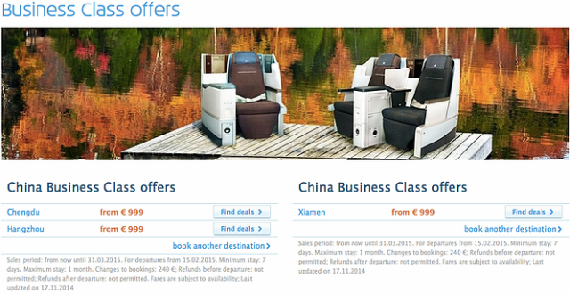 KLM Business Class Fares from TLV
