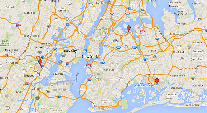 NYC Airports Google Map