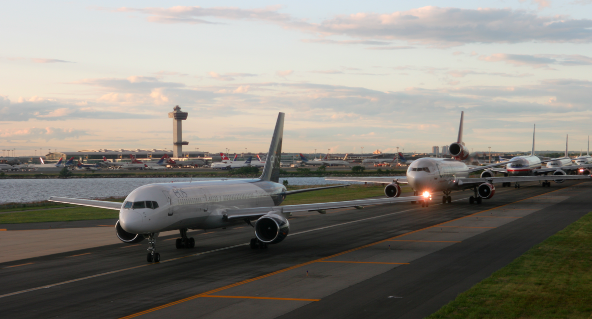 Queue of Planes at JFK Airport
