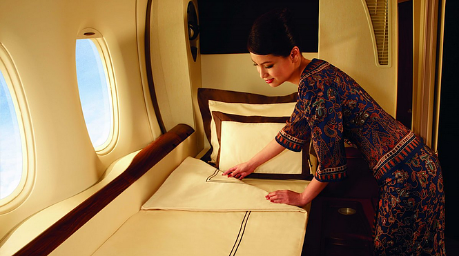 Singapore Airlines First Class Bedding