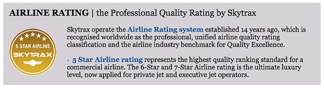 SkyTrax 5-Star Airline Description
