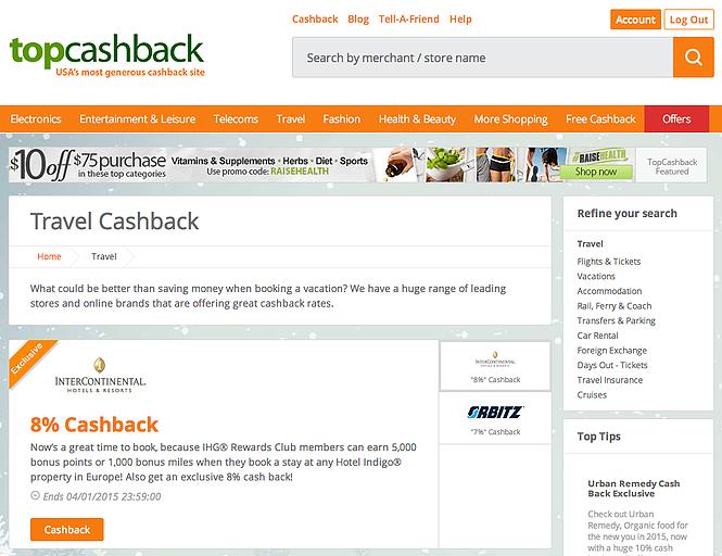 TopCashBack Website Jan15