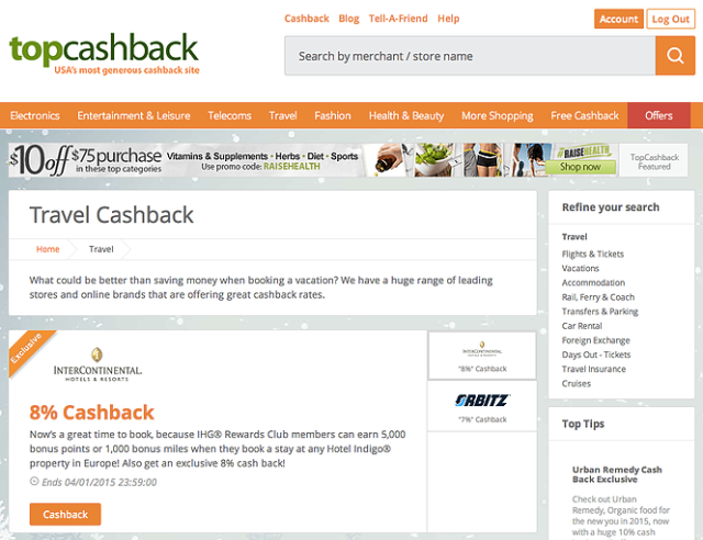 TopCashBack Website Jan15