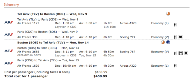 Air France 459$ Ticket TLV-BOS Nov16