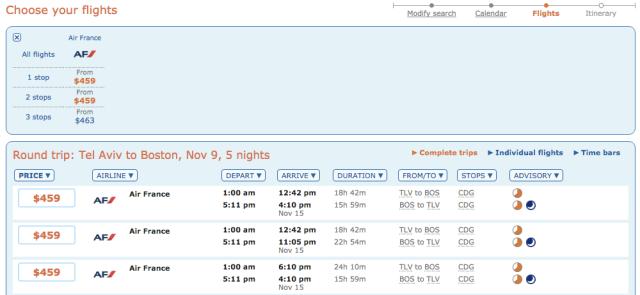 Air France 459$ Tickets TLV-BOS Nov16