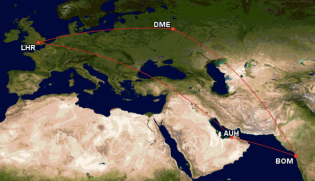 GCM Routes Moscow to Mumbai