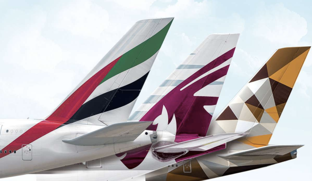 Three Major Gulf Airlines - Qatar Airways, Emirates and Etihad