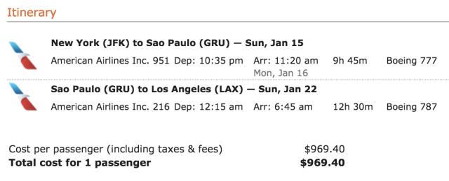 AA OJ Ticket JFK-GRU-LAX