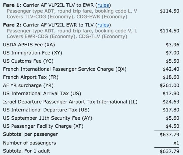 AF Fare TLV-EWR Detailed Cost