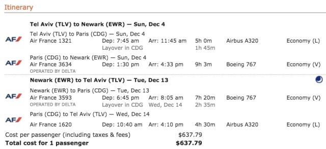 AF Ticket TLV-EWR