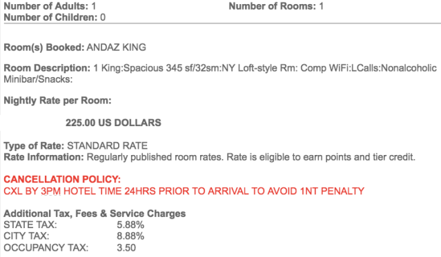 Andaz WS Price on Reservation