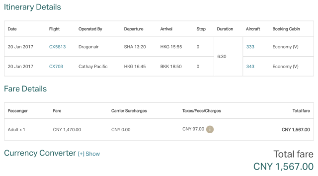 CX Ticket PVG-HKG-BKK