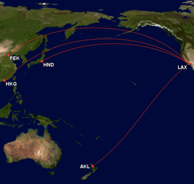 GCM - Flight Routes from LAX to AKL, PEK, HND and HKG