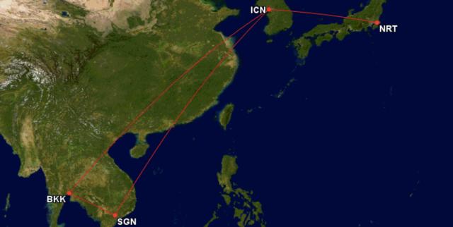 GCM Route Japan To Vietnam