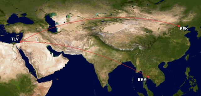 GCM Route PEK-TLV-BKK