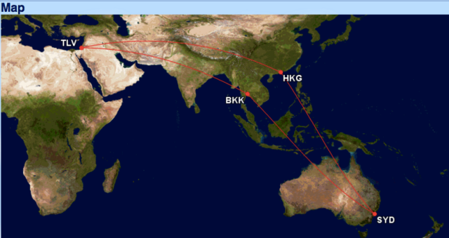 GCM Routes TLV-SYD via BKK and HKG