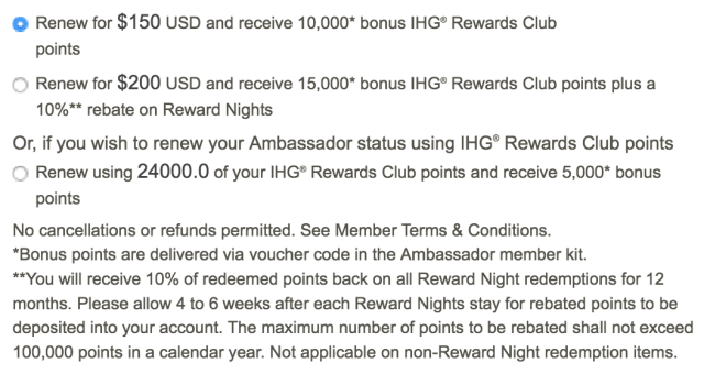 Options for IC Ambassador Renewal