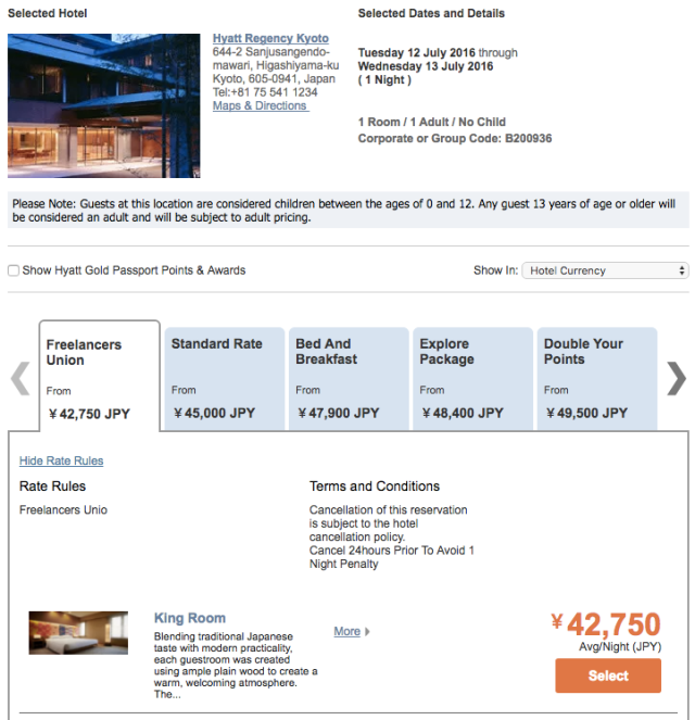 Hyatt Freelancers Rate Example