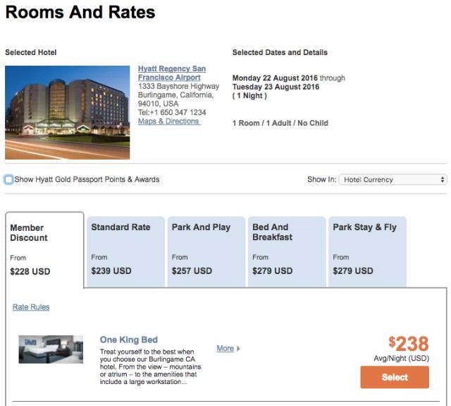 Hyatt Regency SFO Example Rates