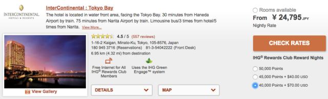 IC Tokyo Bay Cash+Points Rates
