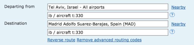 ITA Matrix Search for Iberia J Class