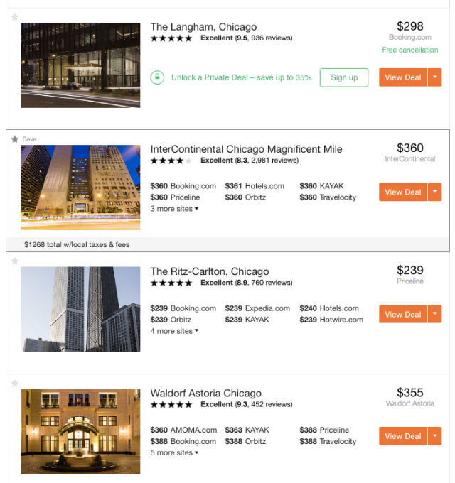 Kayak Search Results for Chicago