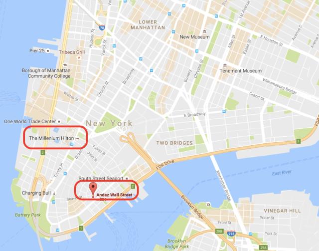Millenium Hilton and Andaz Wall Street - Google Maps