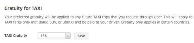 Uber Set Taxi Tip