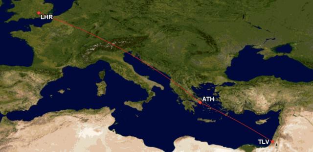 GCM Route TLV-ATH-LHR