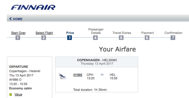 AY666 on Finnair.com