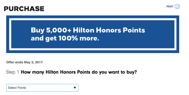 Buy Hilton Points - March 2017
