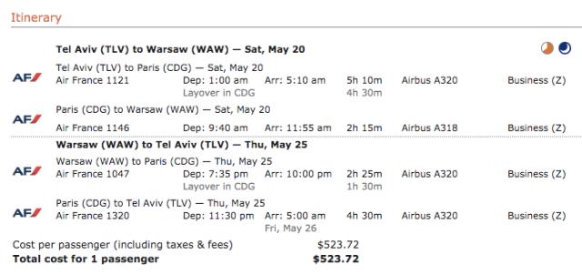 AF TLV-WAW Business 525$