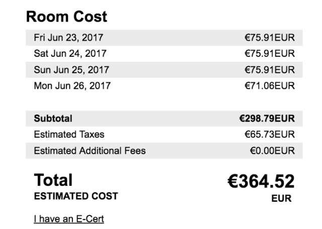 Radisson Blu Beke Rate for 4 Nights