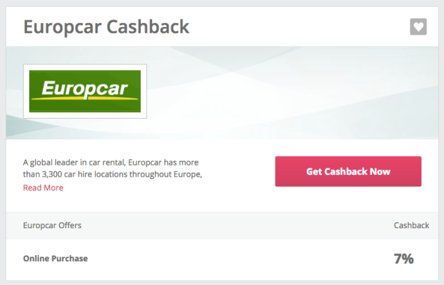 TopCashBack 7% for Europcar