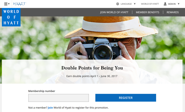 World of Hyatt Double Points - April 2017 Promo