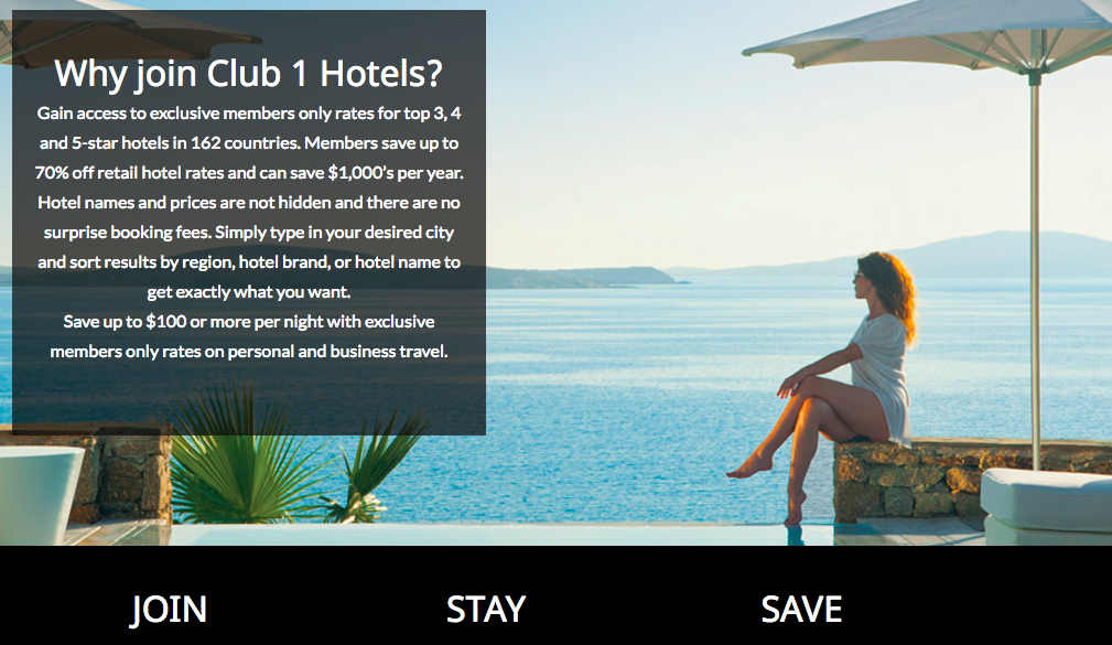 Club1Hotels Front Page